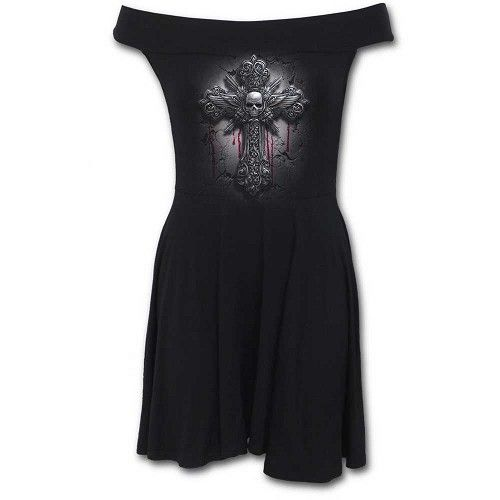 Crucifix, gothic metal fantasy skater jurk met bardot hals zwart - XXL - Spiral