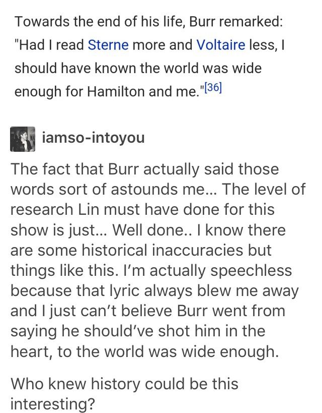 This is so true. For the few inaccuracies in the musical to help move the plot and make a more cohesive story, there are so many more historically accurate little facts and details that make it so wonderful. Lin really did do his homework, and made a subject that seems so boring to many of us into such a relatable and interesting story