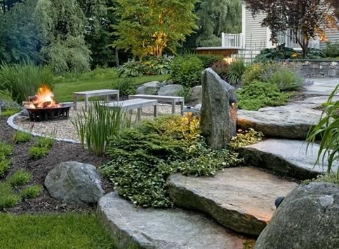 Natural backyard rustic backyard landscaping fire pits for Patio landscaping
