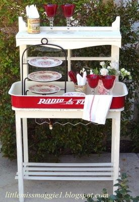 Radio Flyer Potting Bench - Pinterest Inspired.  Could also be used for a beverage cart or a kitchen buffet.