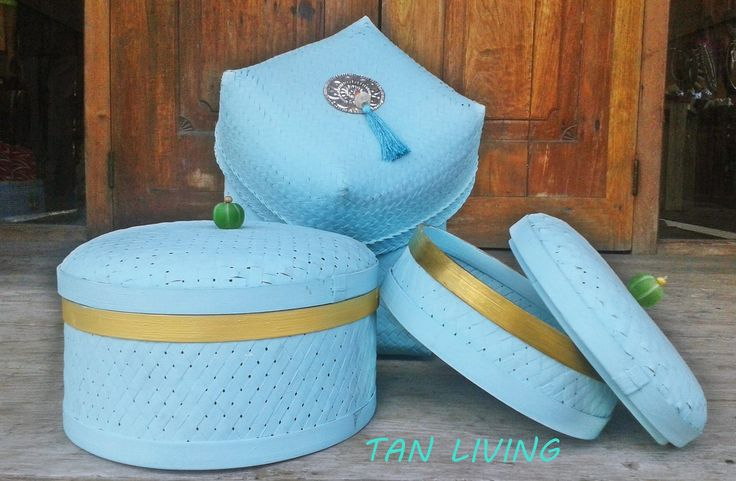 Blue and Gold Baskets by Tan Living.