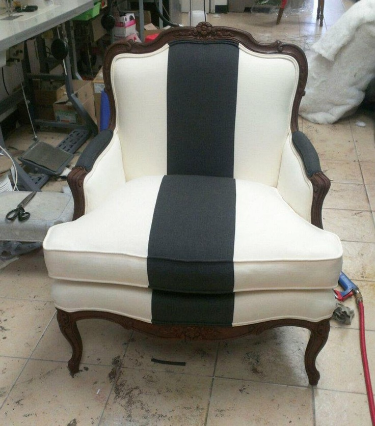 This is a sneak peak of a seriously stylish chair redo we're wrapping up for a client.