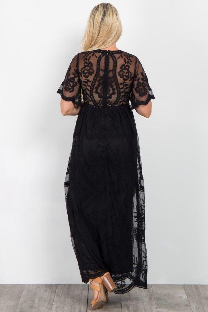 24166ffa67e Black Lace Mesh Overlay Maternity Maxi Dress | Wedding ideas ...