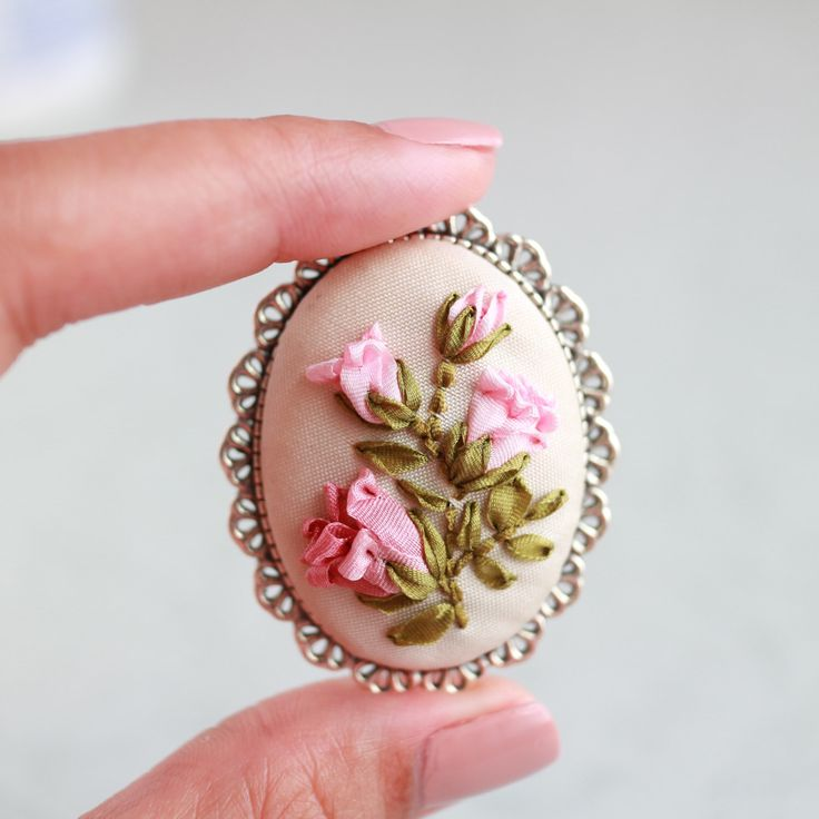 Pink Roses Bouquet Silk Ribbon Embroidery Shabby Chic Vintage Style Oval Antique Silver Plated Brooch Pin (B006) by ShabbySugarplum on Etsy https://www.etsy.com/listing/386671630/pink-roses-bouquet-silk-ribbon