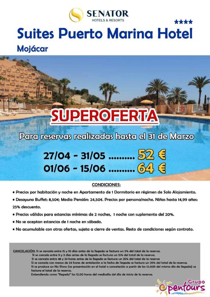 | GRUPO OPENTOURS | . Hotel Suites Puerto Marina **** (Mojácar, Almería, Andalucía, España) ---- Especial MAYO-JUNIO 2018 ---- Para reservas realizadas en Marzo. Desde 52 € por apartamento de 1 dormitorio y día. ---- Resto condiciones de esta oferta en www.opentours.es ---- Información y Reservas en tu - Agencia de Viajes Minorista - ---- #hotelsuitespuertomarina #suitespuertomarinahotel #mojacar #senator #almeria #andalucia   #escapadas #hoteles #vacaciones #estancias #ofertas #familias…