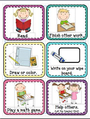I'm Done...Now What- free cards from Inspired by Kindergarten: Back to School Blog Hunt Day 20!