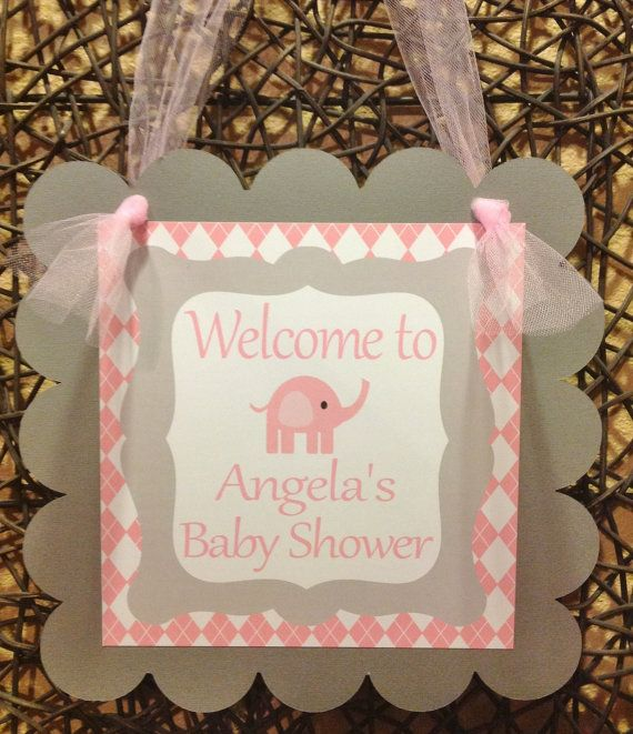 DOOR SIGN  It's a Girl Baby Elephant Banner by EmeraldCityPaperie, $12.00