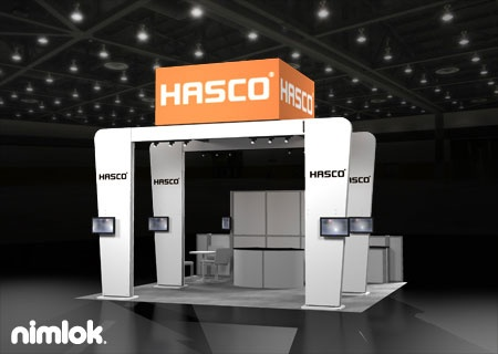 nimlok designs trade show exhibits and modular trade show booths for hasco we showcased
