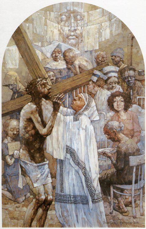 Vi Estación. Verónica limia el rostro de Cristo. Gólgota de Jasna Góra, del pintor polaco Jerzy Duda Gracz