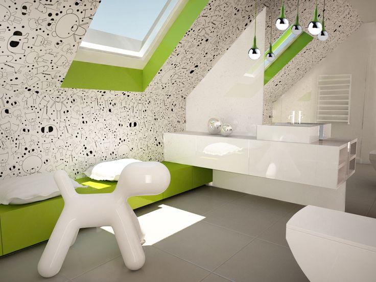Nowoczesna biała łazienka na poddaszu z dodatkiem zieleni
