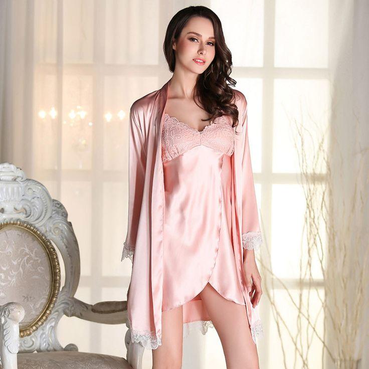 Automne rétro de dentelle en coton tricot en pyjama ladies sweet princess sleep skirt v neck manches longues robe ( Couleur : Rose , taille : L )