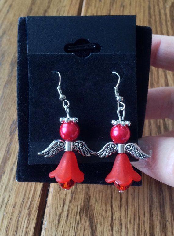 Red Angel Earrings Red Christmas Earrings by JellyTreeJewelry