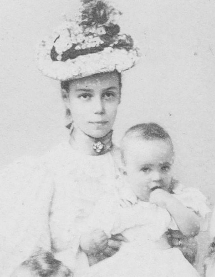 Grand Duchess Xenia Alexandrovna with her first child Princess Irina Alexandrovna