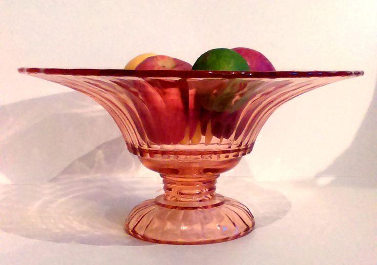 Large art deco glass, Art deco pink glass fruit bowl, Art deco peach glass fruit bowl Art glass pedestal fruit bowl Vintage glass fruit bowl by StrawberryfVintage on Etsy