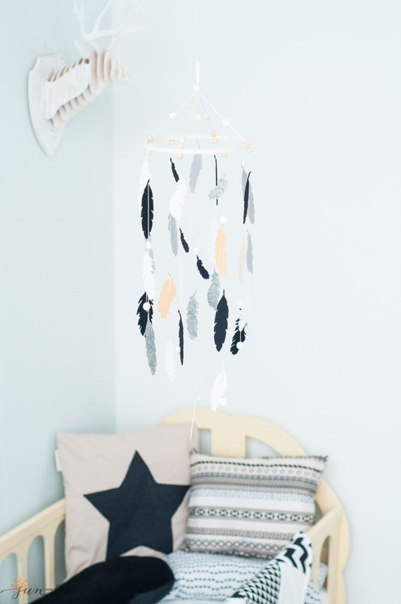 Black White Grey Nursery Mobile-Baby Feather by SUNandCo on Etsy
