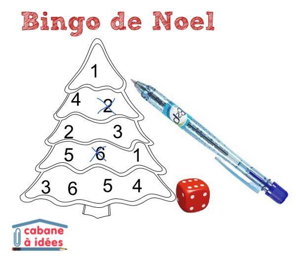 Je vous propose aujourd'hui un petit jeu facile à organiser : il s'agit d'un bingo spécial Noël! Un dé, une feuille de papier et vous occuperez vos enfants dix minutes :) Instructions Vous pourrez télécharger le gabarit du bingo de Noël ou bien tracez votre propre version sur des feuilles de papier. Dans le gabarit, il y a un sapin de noël, une étoile, une bougie ou une sucette canne. Chaque planche comporte les numéros 1 à 6 répétés deux fois. Le but du jeu : lancer à tour de rôle le dé et…