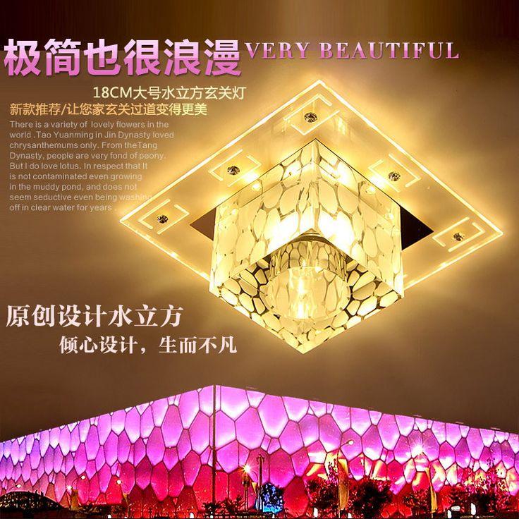 Дешевое Простой атмосферное квадратного проходу из светодиодов потолочный светильник кристалл лампы творческий водный куб фойе прихожей освещение, Купить Качество Светильники непосредственно из китайских фирмах-поставщиках:  Мощность: 3 Вт теплый свет, 5 Вт теплый свет (W) Цвет: вспомогательные светло-желтый, синий и дополнительный свет, вспо