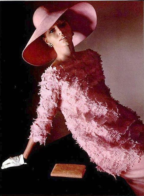 Yves Saint Laurent, 1964..love the pink hat