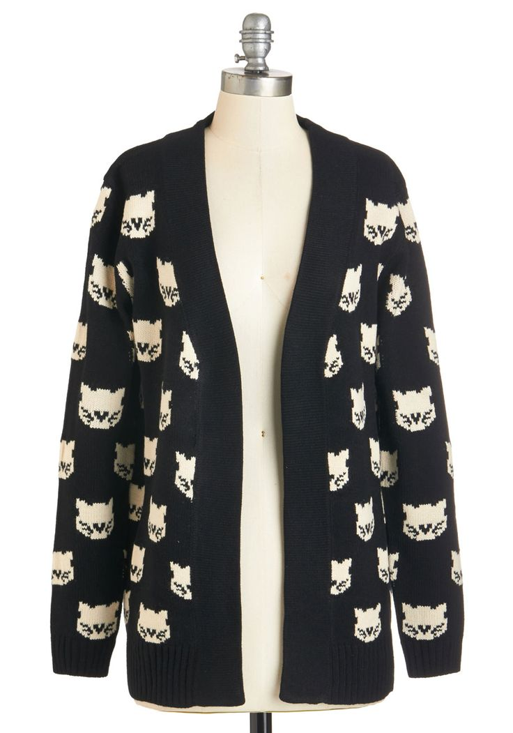 Mew Know It's True Cardigan by Sugarhill Boutique - Black, Long Sleeve, WPI, Critters, Mid-length, Knit, Black, Print with Animals, Cats, Long Sleeve, Fall, Winter, International Designer, White, Casual