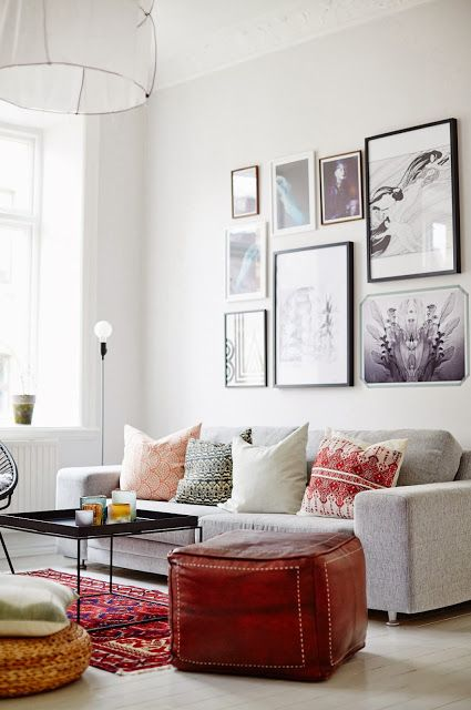 Living room: Cord Lamp by Form Us With Love for Design House Stockholm. Hay tray table. From my scandinavian home: Swedish interiors from the portfolio of Sara Landstedt