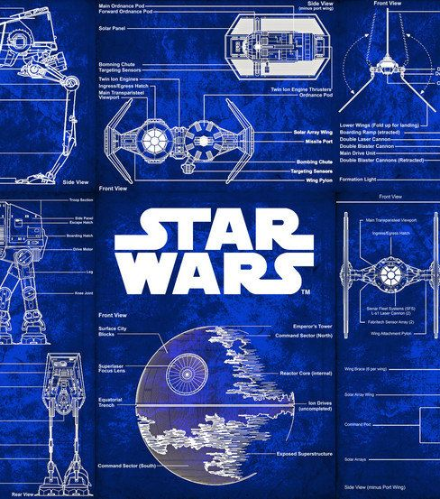 Star wars blueprint drawing r2d2 licensed cotton blue for Star wars fabric