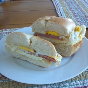Taylor Pork Roll, egg & cheese on a toasted bagel. A very east-coast breakfast.
