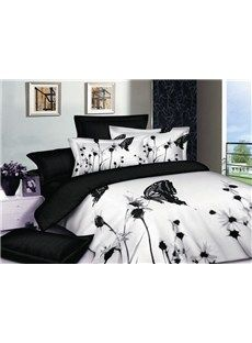 Simple and Decent Bedding Sets of High quality with flowers and butterflies