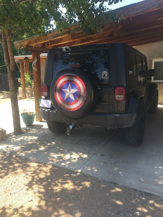Protect your spare tire from harmful uv rays with this stylish captain America tire cover. Due to shipping conditions from the manufacturer, covers become wrinkled. Within 48 hours of being installed material becomes pliable and wrinkles disappear.    100% satisfaction guaranteed: Full refunds provided, buyer pays return. Must return product within 7 business days.