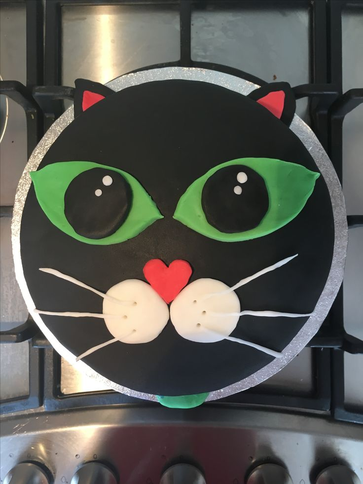 Just finished cat birthday cake , 1st attempt at fondant covered cake