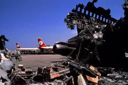August 1982. Bomb wreckage at the Beirut airport. During the Lebanon War of 1982, Yasser Arafat and PLO forces were trapped in Beirut as Israeli Defense Forces encircled and bombed the city for 70 days. After Lebanese leaders petitioned the PLO to leave the city, Arafat negotiated a Palestinian evacuation of Beirut through talks with U.S Ambassador Philip Habib. On August 21, multinational forces arrived in Beirut to provide protection for the exodus, which was completed by September 1.