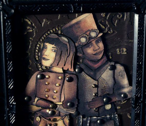 Zarah & Charlie Buttons Paper Dolls Framed by DellaMorteSteampunk