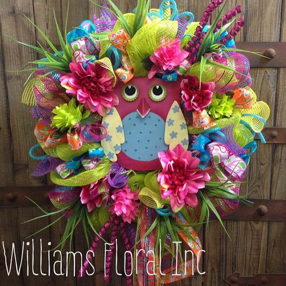 Owl wreath by WilliamsFloral on Etsy, $105.00