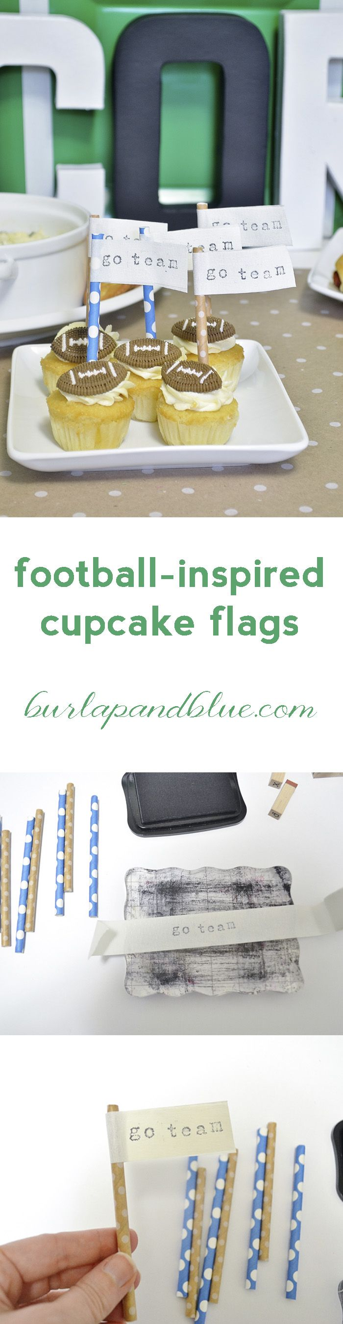 easy football inspired cupcake flags!