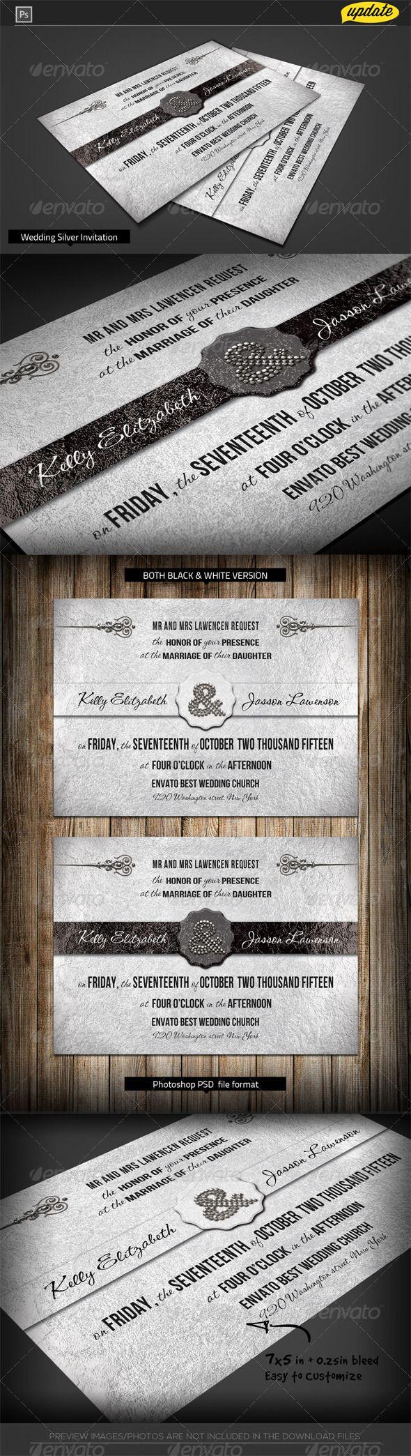Silver Wedding Invitation Template 214 best Invites