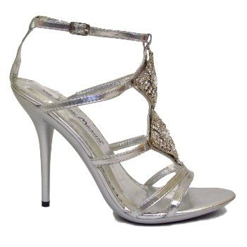 Womens Silver Diamante Bridal Wedding Bridesmaid Prom Ladies Sandals Shoes: Amazon.co.uk: Shoes & Bags