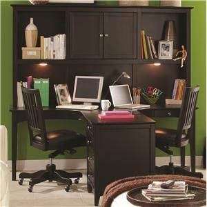 E2 Midtown Two-Person Ergonomically-Friendly Dual T Desk with Storage Hutch & Three-Drawer Single File Cabinet Combination by Aspenhome at H...