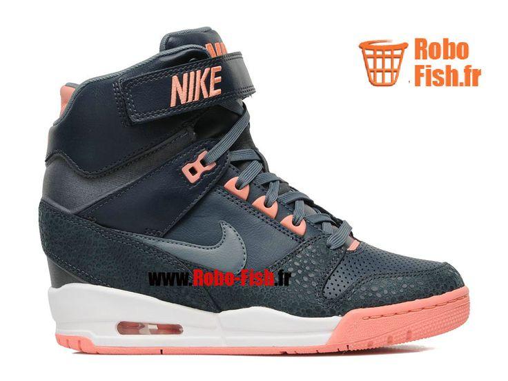 Nike Air Revolution Sky Hi GS - Chaussures Montante Nike Pas Cher Pour Femme Noir/Orange 599410-400