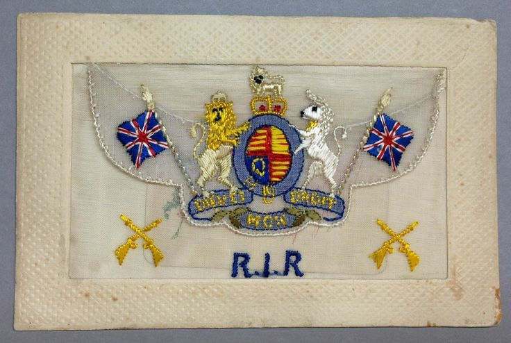 WW1 Silk Postcard R.I.R with British Coat of Arms and insert. RIR = Royal Irish Rifles likely given the 2 sets of rifles guns crossed on the corners.