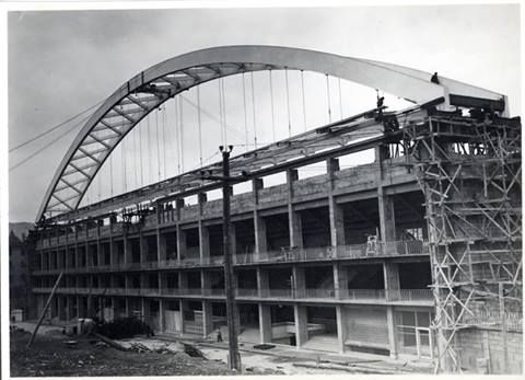 Construction of glorious San Mames Stadium and its unmistakable huge arch. It's home to Athletic of Bilbao football team.  We all hail them as the unique team in the Spanish league who doesn't buy players from any other regions. We don't need so 'cause WE'VE GOT THE BALLS.
