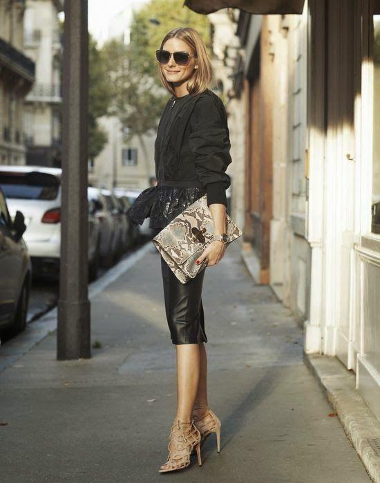 Nina Ricci peplum jacket, leather pencil skirt, Aquazzura x Olivia Palermo cut-out sandals and a Chloe python clutch.