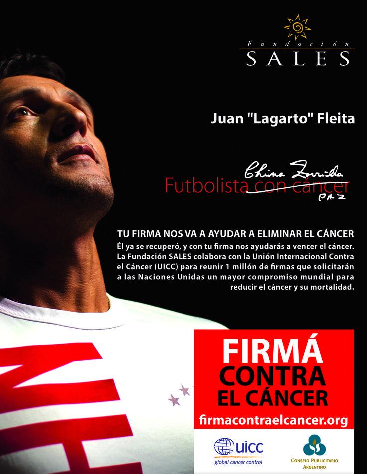 """Firmá contra el cáncer """"Fútbol"""" El objetivo es reunir 1 millón de firmas para solicitar un mayor compromiso mundial para reducir el cáncer. Gran campaña de concientización que lleva a la acción!"""