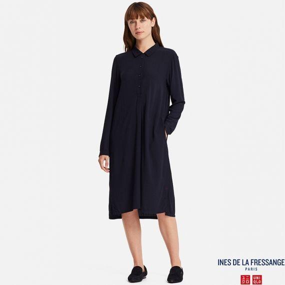 92ba16b41ae741 WOMEN IDLF Georgette Long Sleeve Shirt Dress - Dresses - TOPS - WOMEN |  UNIQLO