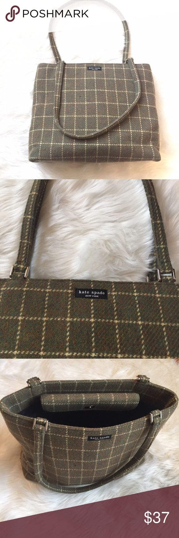 Kate Spade purse Wool. Olive with yellow plaid. Silver hardware. Black lining with single zipper pocket. kate spade Bags Shoulder Bags