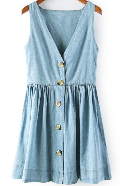Blue V Neck Sleeveless Buttons Denim Dress - abaday.com