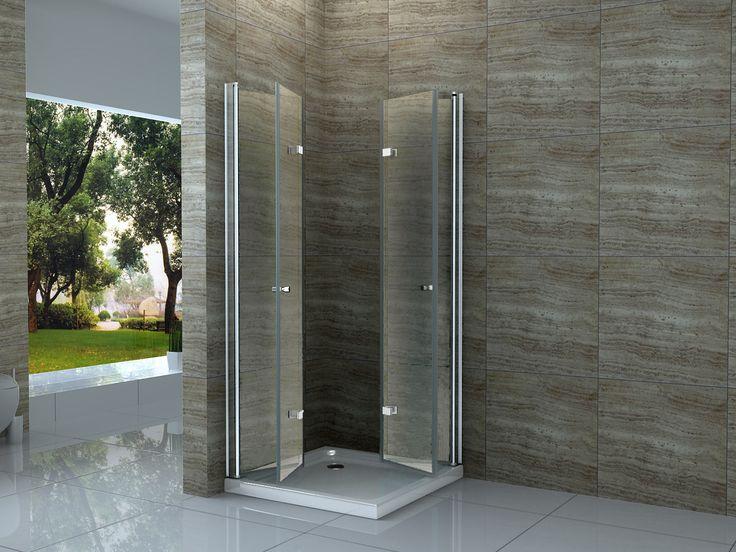 duschwand glas 90 x 90 cm falttr glas dusche duschkabine duschwand duschabtrennung - Duschtrennwand Glas