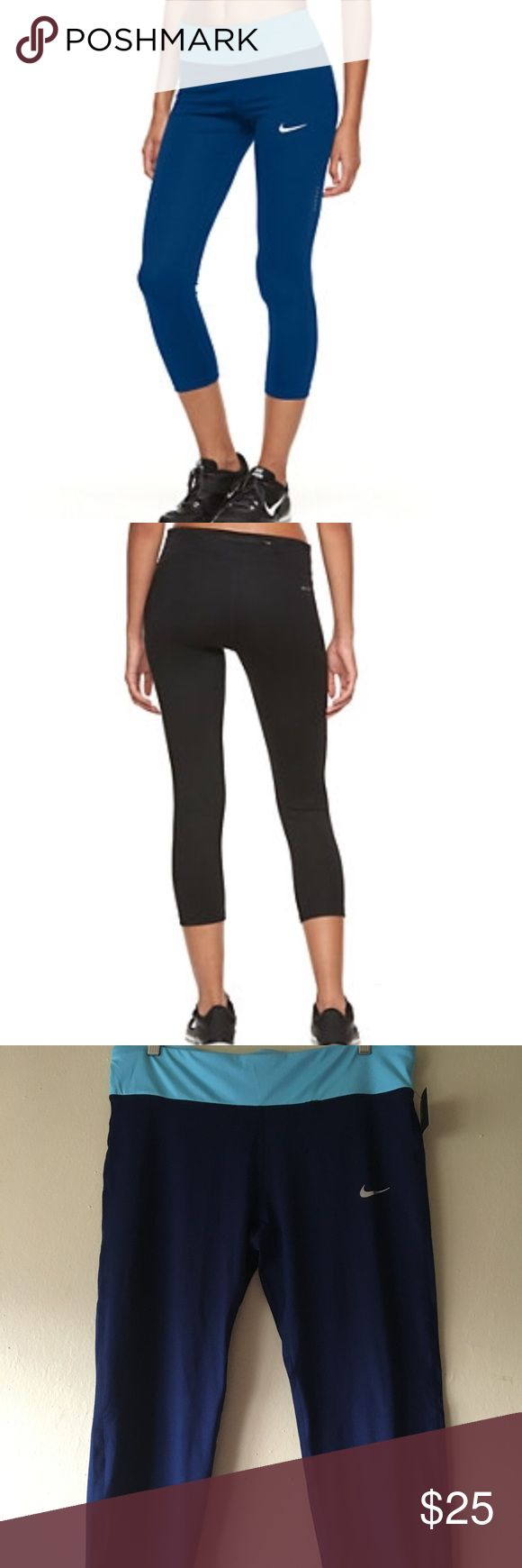Nike Power Essentials Capri NWT. Made of Nike power fabric the provide a range of stretch and support. Dri-Fit Fabric. Capri length. Pull on style with a drawstring inside, as well as a pocket on the back that contains a waterproof material. Can fit an iPhone 6s without case. Nike Pants Capris