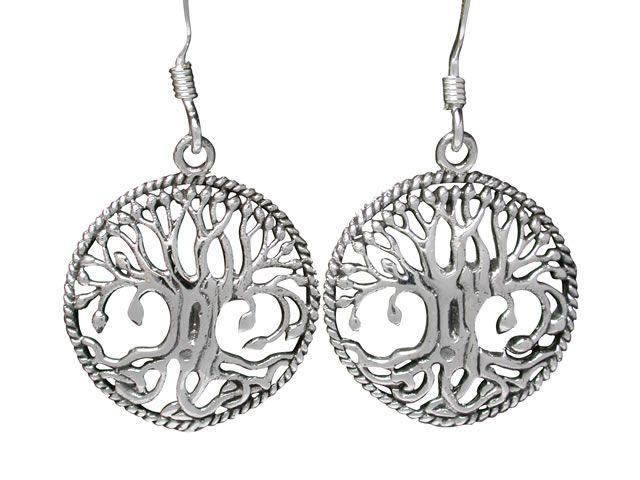 Sterling Silver 17mm Tree Of Life Drop Earrings