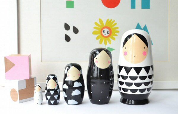 sketch inc monochrome nesting dolls web Decorate your nest with monochrome matryoshka dolls