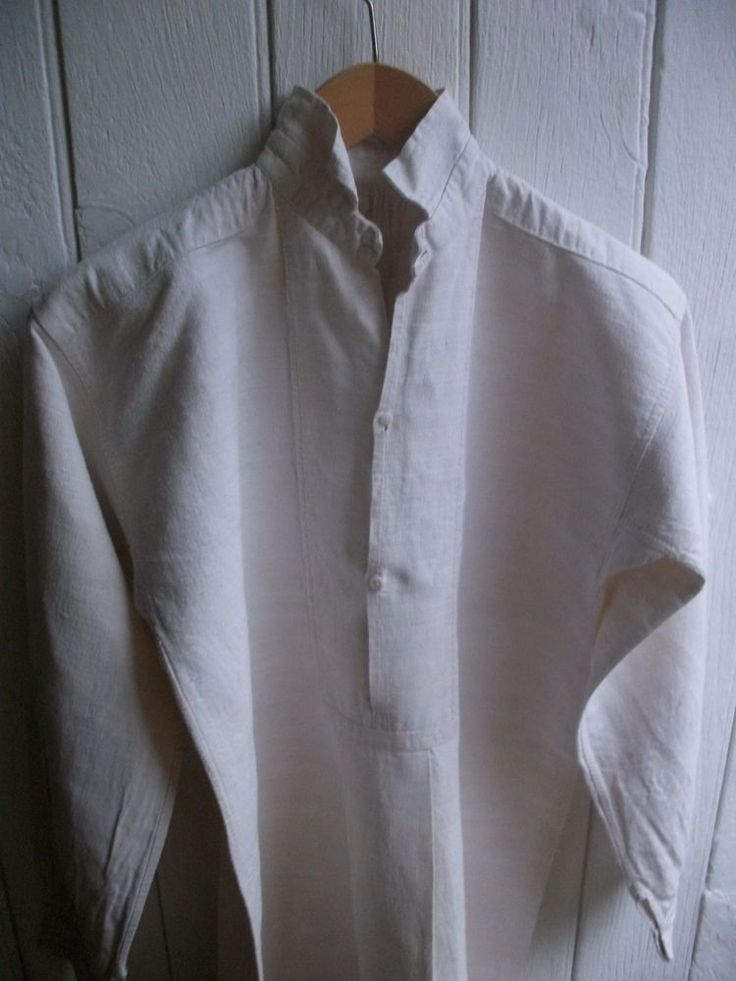 ANTIQUE LINEN SHIRT FRENCH NIGHT SHIRT CHEMISE - RED MONO  G  c1890 CHANVRE EXC