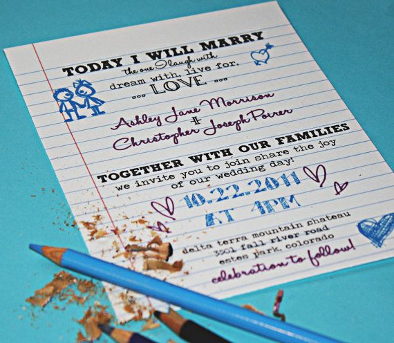 Printable Wedding Invitations  SCHOOL YARD by ConfettiPrintsShop, $25.00